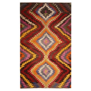 Vintage Mid-Century Diamond Beige-Brown and Green Wool Kilim Rug- 5′8″ × 9′7″ For Sale