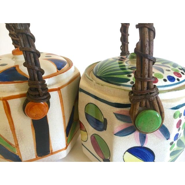 Rare Vintage 1930's Art Deco Japan Hand Painted Porcelain Handled Ceramic Biscuit Barrel Jars - Set of 2 For Sale In Kansas City - Image 6 of 13