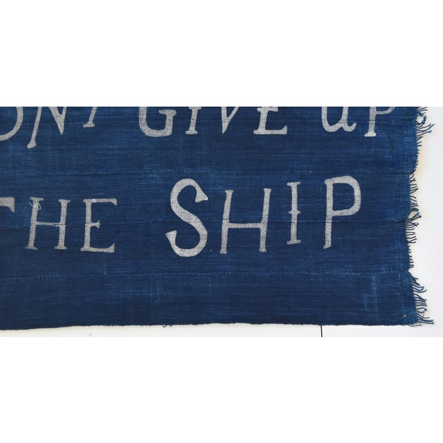 "Early 21st Century Boho Chic Nautical Themed Indigo Blue/White African Textile Flag 35"" X 21"" For Sale - Image 5 of 10"