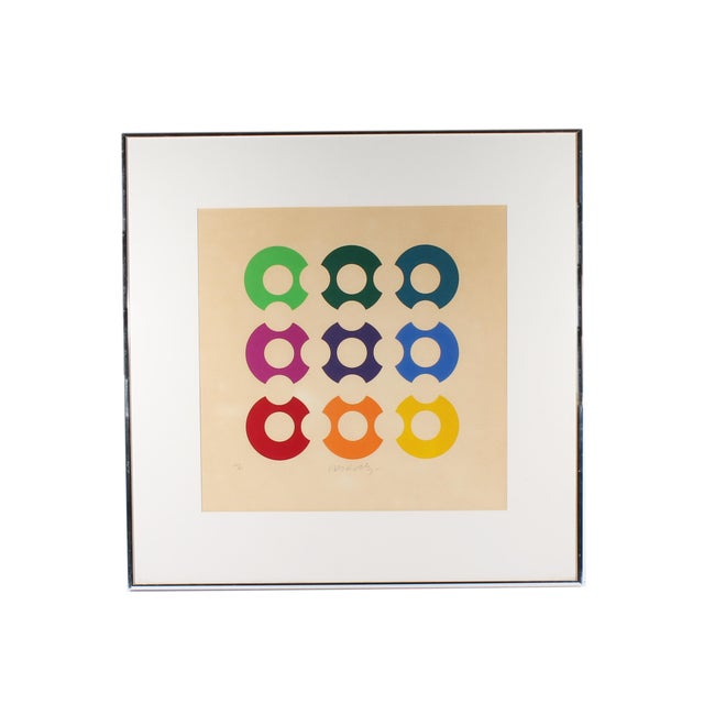 White Limited Edition Op Art Lithograph Print Signed Victor Vasarely For Sale - Image 8 of 8