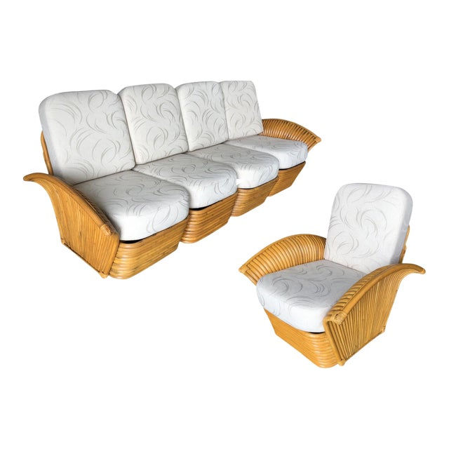 Restored Art Deco Rattan Fan Arm Three-Seat Sofa & Lounge Chair Livingroom Set For Sale