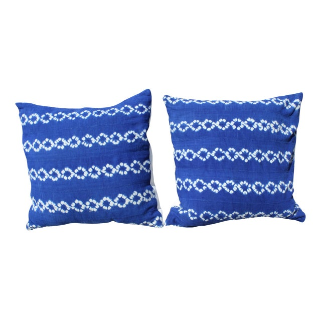 Bright Blue Indigo Mudcloth Pillows - Pair - Image 1 of 3