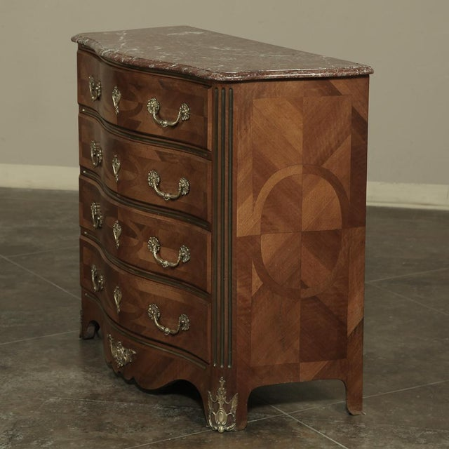 Early 19th Century 19th Century French Louis XIV Marble Top Commode With Marquetry For Sale - Image 5 of 11