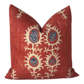 Red Tribal Flame Pillow Cover For Sale