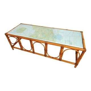 Bamboo and Map Glass Top Coffee Table For Sale