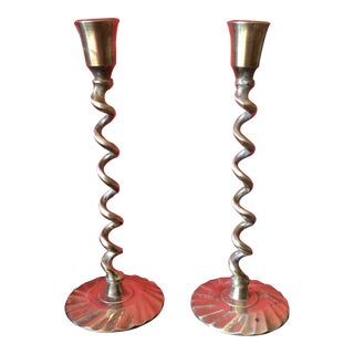 Barley Twist Spiral Brass Candleholders - Pair For Sale