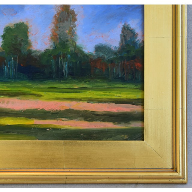 California Plein Air Foothills & Meadow Oil Painting W/ New Gold Leaf/Gilt Frame For Sale - Image 4 of 7