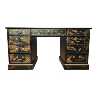 Impeccable 20th Century Chinoiserie Drexel Heritage Lacquered Partner Desk For Sale