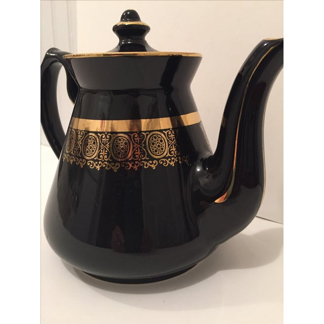 "Black and Gold Hollywood Regency ""Hall Usa"" Teapot - Image 6 of 9"