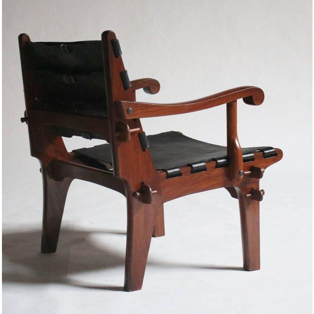 Pair of Angel Pazmino Rosewood and Leather Sling Armchairs - a Pair For Sale In Chicago - Image 6 of 10