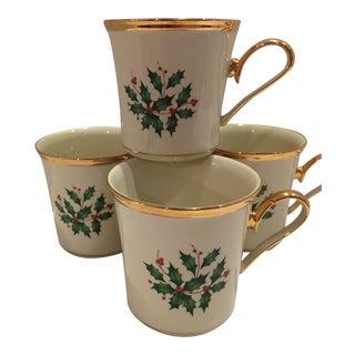 Gold Rimmed Lenox Holiday Mugs - Set of 4 For Sale