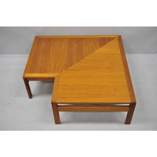 Mid-Century Modern 1960s Mid-Century Modern Ole Gjerlov-Knudsen & Torben Lind Moduline France & Son Corner Teak Coffee Table For Sale - Image 3 of 13