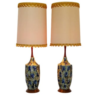 Mid-Century Modern Blue Drip Lava Glaze Ceramic Table Lamps 1960s Finials, Pair For Sale