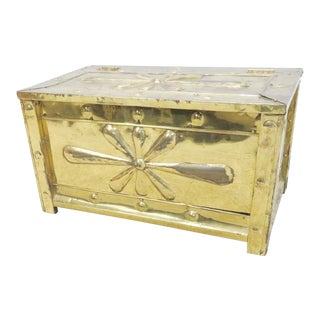 Decorative Embossed Brass Kindling Box For Sale