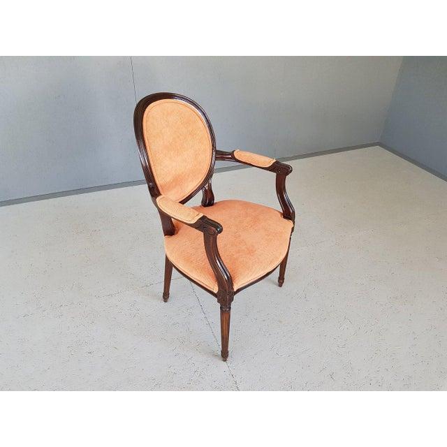 Louis XVI Velvet Upholstery Arm Chair For Sale - Image 4 of 13
