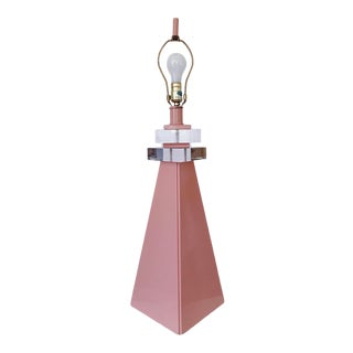 Vintage Post Modern Pyramid Lamp With Lucite Accent For Sale