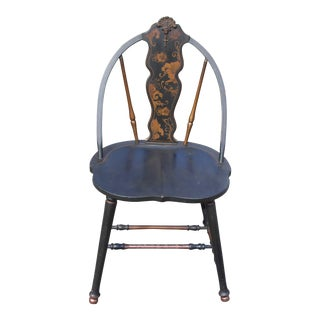 Antique Black Lacquered Ebonized Hand Painted French Art Nouveau Chair For Sale