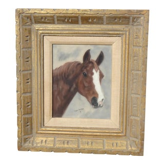 Vintage French Pastel Wall Picture Print of a Horse Signed by Char Henson 1971 For Sale