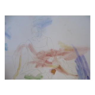 Pastel of Woman Reading
