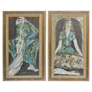Late 20th Century Vintage Oil Paintings on Canvas- A Pair For Sale