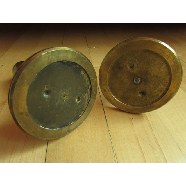 Mid-Century Modern Brass Candle Holders - A Pair - Image 3 of 7