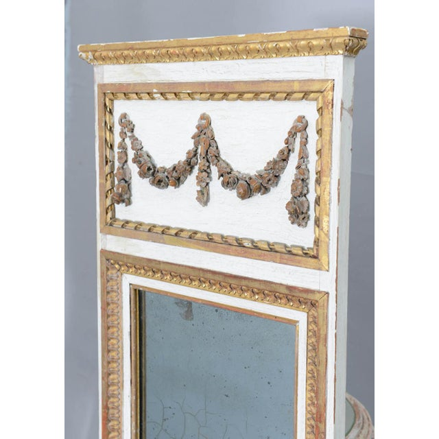 Narrow 19c. Painted and Parcel Gilt French Trumeau Mirror For Sale - Image 9 of 11