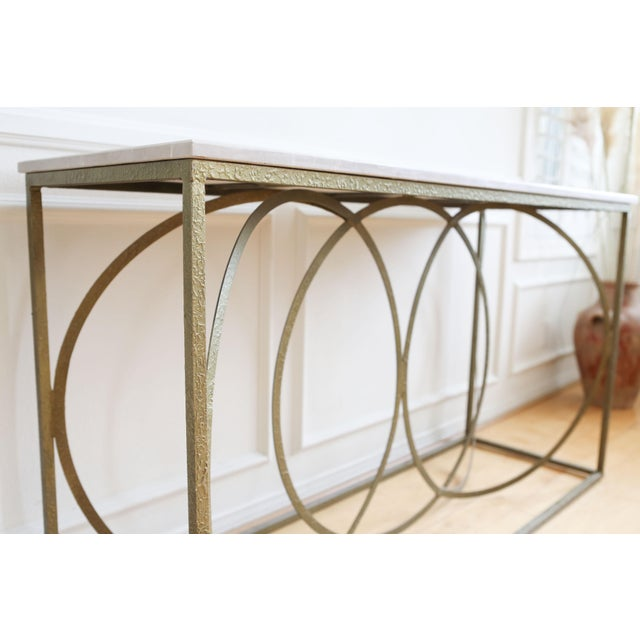 Metal Modern Geometric Gold Iron White Marble Console Table For Sale - Image 7 of 7