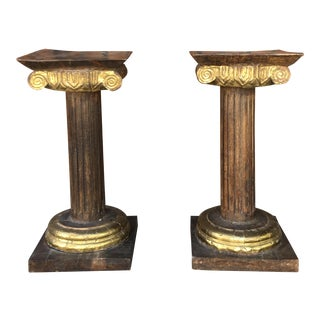 1940s Antique Copper Pedestals- A Pair For Sale