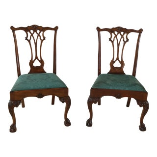 Stickley Ball & Claw Carved Mahogany Side Chairs - a Pair For Sale