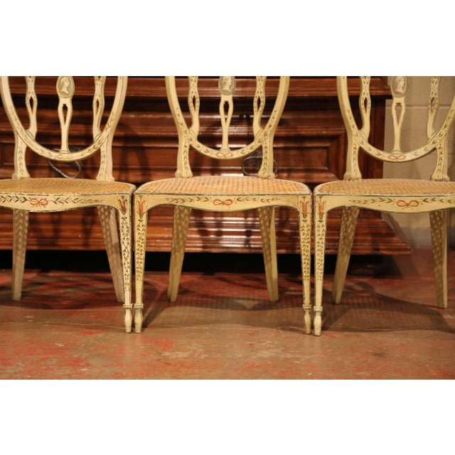 Mid-19th Century Vintage Hepplewhite Style Painted Chairs- Set of 4 For Sale - Image 4 of 13