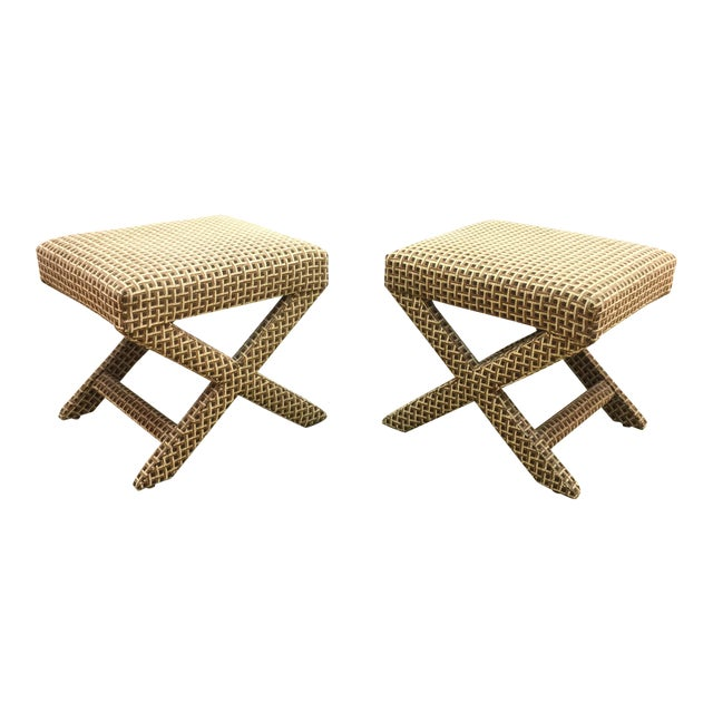 Upholstered X Ottoman Benches - A Pair - Image 1 of 7