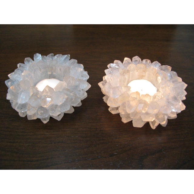 Clear Quartz Candle Holders - A Pair - Image 9 of 11