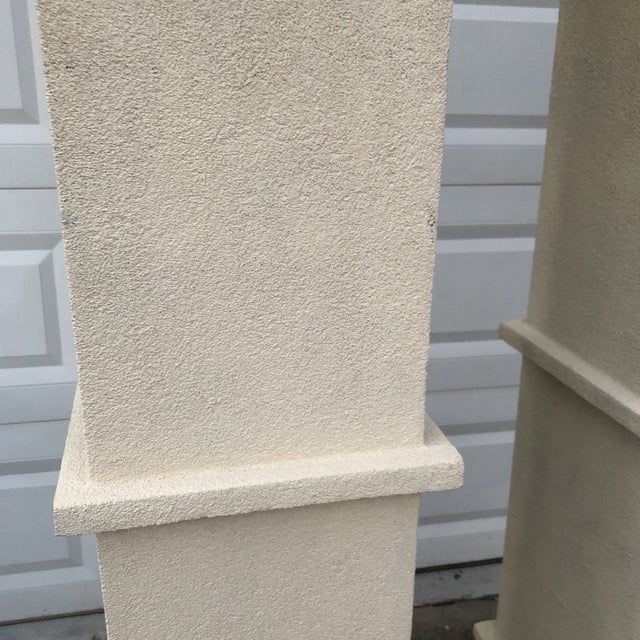 Neoclassical Cream Stone Colored Greek Architectural Columns - A Pair For Sale - Image 3 of 8