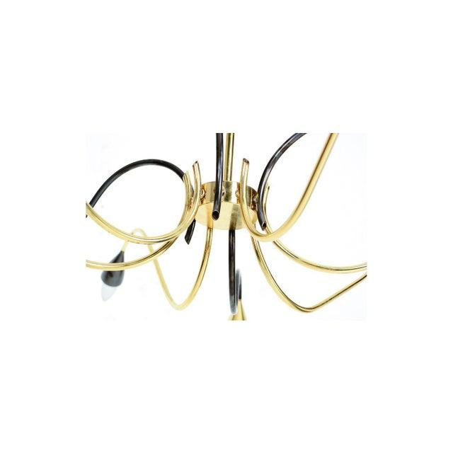 Spider Sputnik Stilnovo Style Ten-Arm Brass Chandelier Italy 1950s For Sale In San Diego - Image 6 of 9