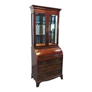 Hekman Hepplewhite Flame Mahogany Cylinder Roll Secretary Desk For Sale