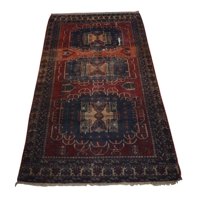 Antique Bohemian Style Handmade Rug - 3′11″ × 7′5″ For Sale
