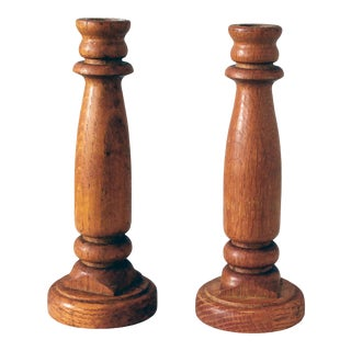 Vintage Hand-Turned Wooden Candle Holders - a Pair For Sale