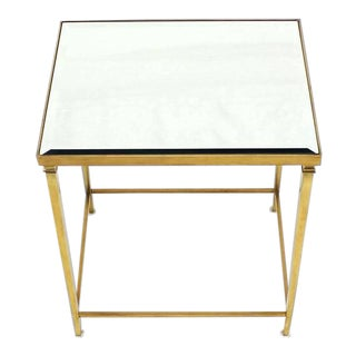 Mid-Century Modern Solid Brass Tapered Leg End Table For Sale