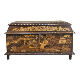 Antique Indian Inlaid Trunk For Sale