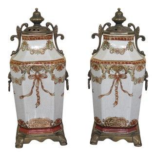 Porcelain & Bronze Decorative Urns - A Pair