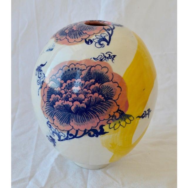 Ceramic Contemporary Ceramic Large Chrysanthemum Egg Vessel For Sale - Image 7 of 7