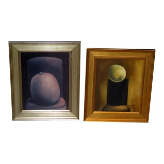 1980s Surrealist Still Life Paintings by Latin American Artist Carlos Cattas - a Pair For Sale