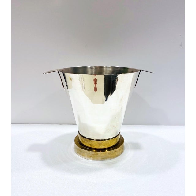 1970's Art Deco Style Wine Cooler and Ice Bucket With Brass Accents, Italy For Sale - Image 12 of 13
