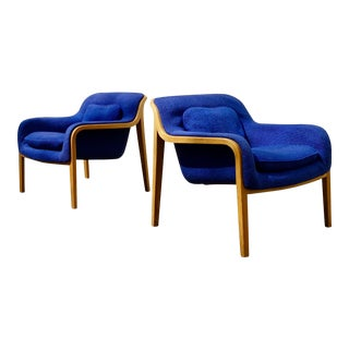 1972 Mid-Century Modern Bill Stephens for Knoll International Oak Lounge Chairs - a Pair For Sale