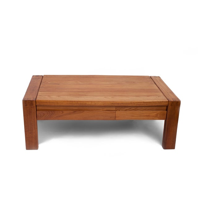Contemporary French 1960s Pierre Chapo Crafted Oak Coffee Table For Sale - Image 3 of 7