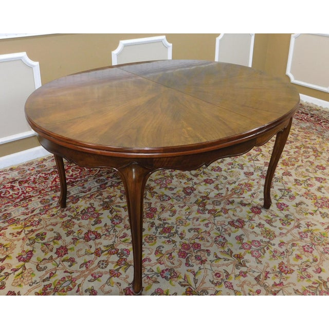 Fruitwood Cherry Oval French Provincial Style Baker Furniture Dining Table For Sale - Image 10 of 11