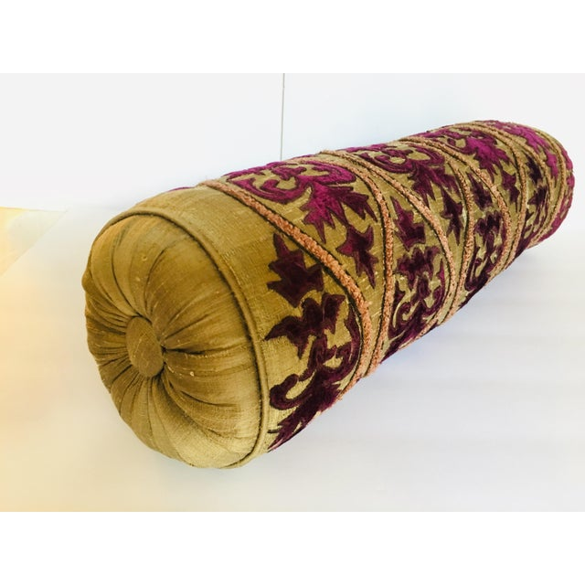 Silk embroidered boudoir pillow. Silk material and rayon fill, rich color. Very good condition, fully filled firm.