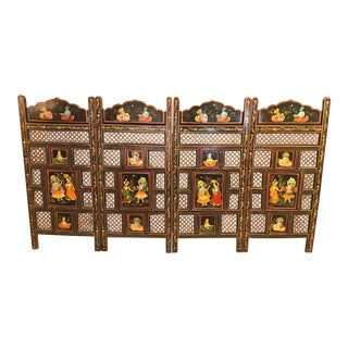 Antique Multi - Colored Hand - Painted Wood Half - Screen/ Room Divider For Sale