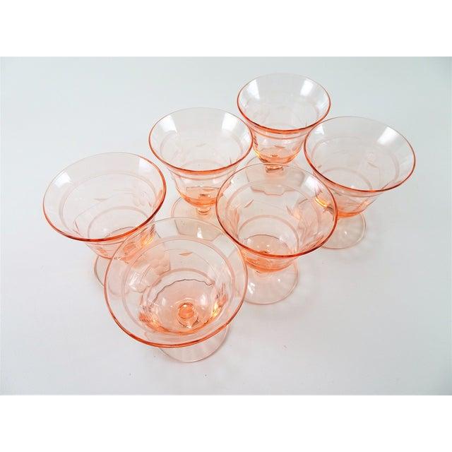 Vintage floral etched blush pink short stem glasses. Very lovely unique set for your bar ware collection.
