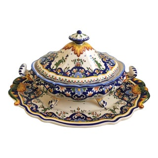 Early 20th Century French Decorative Floral Tureen and Platter - a Pair For Sale